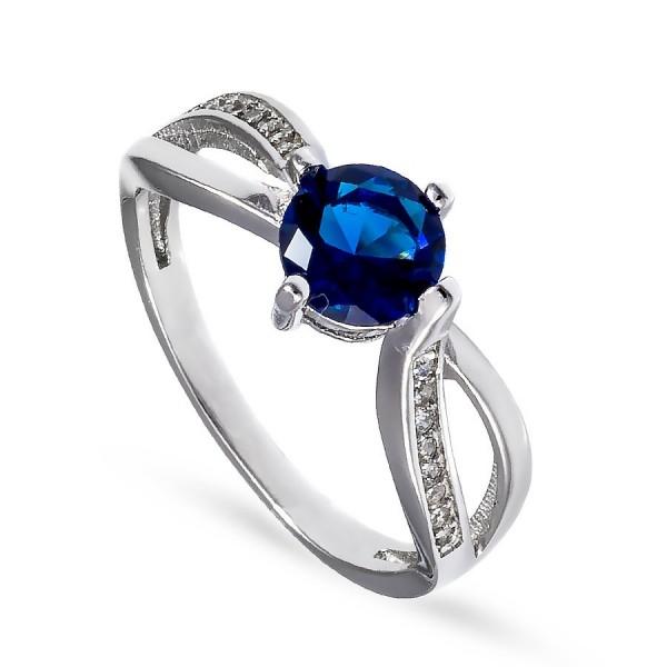 Piękny delikatny pierścionek z szafirową cyrkonią