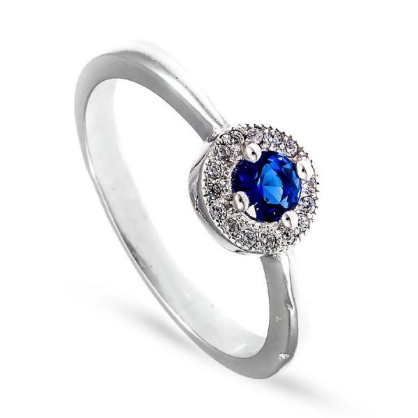 Srebrny pierścionek z subtelną szafirową cyrkonią