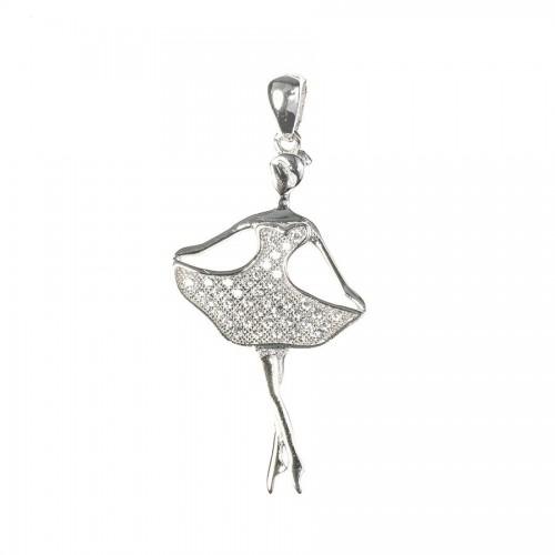 Srebrna balerina - przywieszka z cyrkoniami