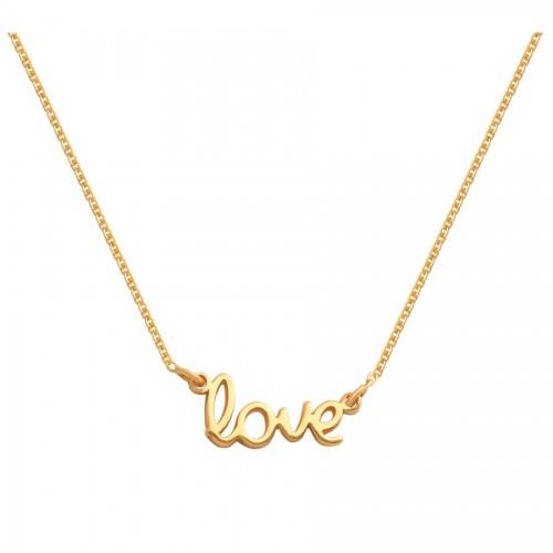 Złoty naszyjnik celebrytka z napisem - LOVE