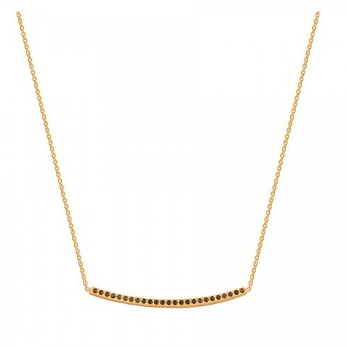 Złoty naszyjnik zdobiony czarną cyrkonią