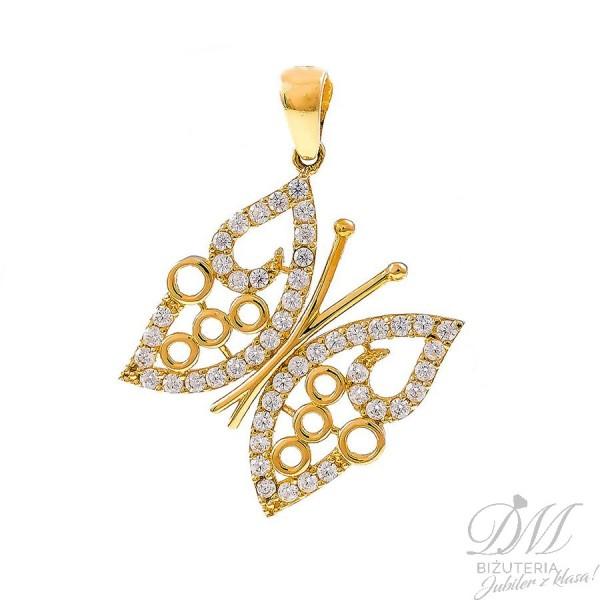 Złoty motyl z cyrkoniami