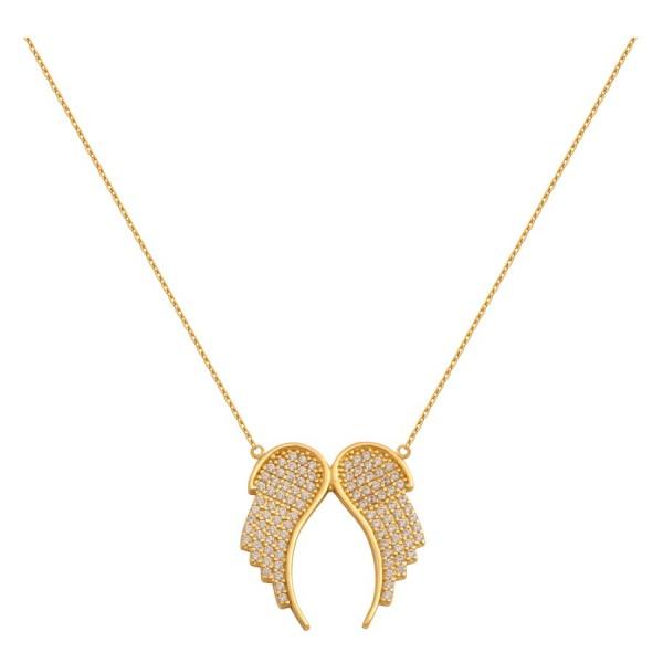 Piękny złoty naszyjnik skrzydełka
