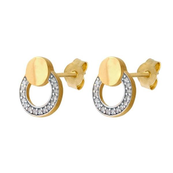 Złote kolczyki w kształcie oponki z cyrkoniami