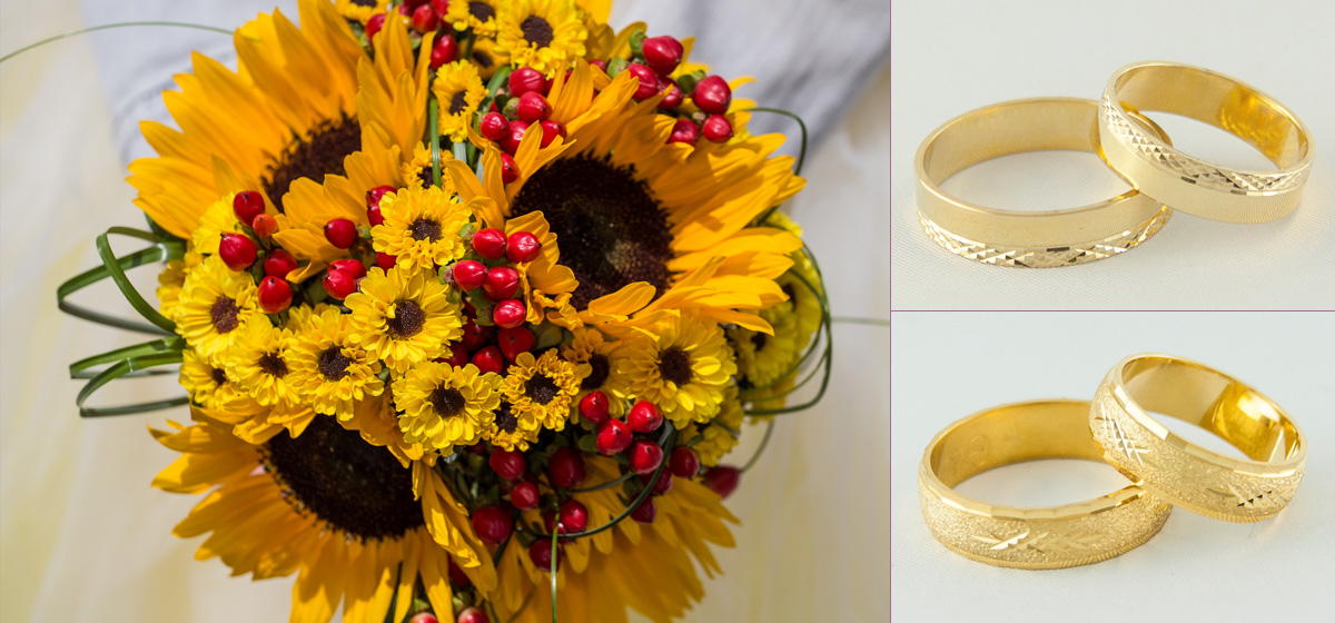 Złote obrączki z bukietem słonecznika