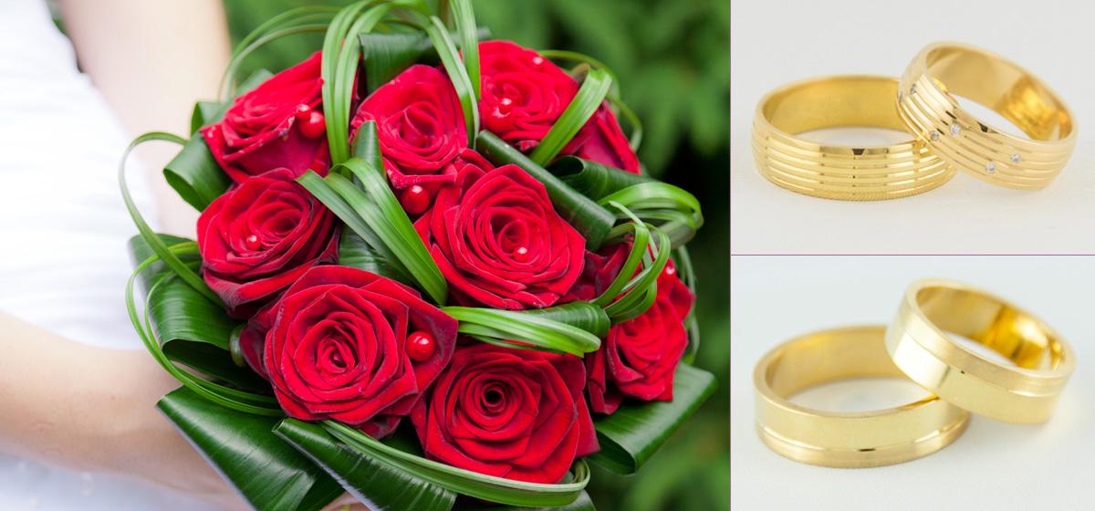 Piękne obrączki z czerwoną różą