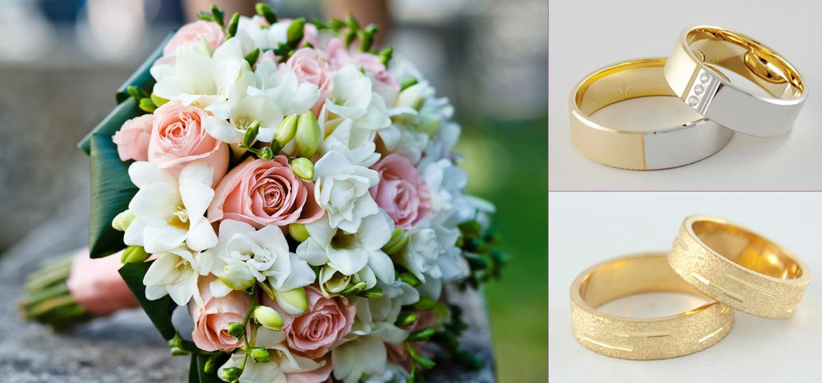 Piękne obrączki ślubne z okazałym bukietem